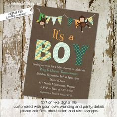 monkey baby shower invitations with banner, digital, printable file (item 1291) baby shower invite