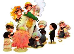 Fujitora, Doflamingo, Ace, Luffy, Smoker, Kuzan, Law, Crocodile, Tashigi, and Hina