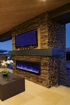 Amantii Panorama x 16 Frameless Built-in Outdoor Electric Fireplace w/ Cover, 12 Deep, Multicolor Flame, Optional Heat, Remote Control wide and deep – The Panorama Series o Outdoor Rooms, Indoor Outdoor, Outdoor Living, Outdoor Kitchens, Casa Top, My Pool, Outside Living, Outdoor Kitchen Design, Kitchen Modern