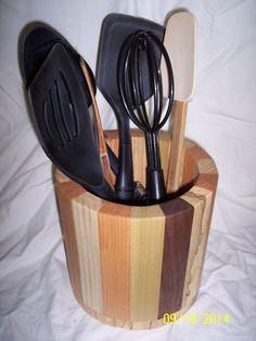 Kitchen utensil holder utensil holder and wooden kitchen on pinterest - Unique kitchen utensil holder ...