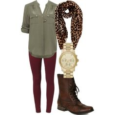 leopard print scarf, burgundy leggings, and brown combat boots....Oh how I love this outfit!!!