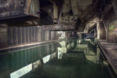 this very large abandoned complex had some great decay and leftover green water