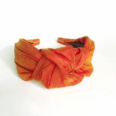 Nudo superior seda pura naranja venda adultos mujer vinchas