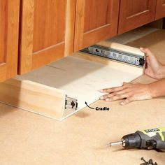How to Build Under-Cabinet Drawers & Increase Kitchen Storage – pantry redo Under Cabinet Drawers, Diy Drawers, Kitchen Drawers, Storage Drawers, Storage Cabinets, Base Cabinets, Kitchen Cabinets, Kitchen Counters, Diy Cabinets
