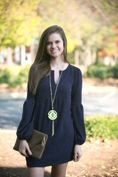 Navy Knit Dress with Bell Sleeves