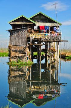 Houses on lake Inle #inlelake #myanmar #burma