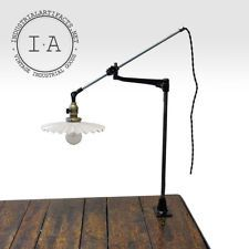 Vintage Industrial O.C. White Desk Wall Mount Lamp w/ Antique Petticoat Shade