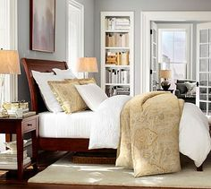 The way the bed is styled.  Valerie Floral Matelasse Duvet Cover & Sham #potterybarn