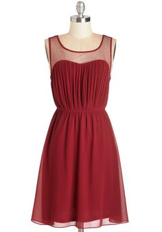 Exquisite on the Equinox Dress in Ruby - Red, Solid, Party, Valentine's, A-line, Sleeveless, Chiffon, Woven, Variation, Mid-length
