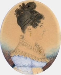 Complex hairstyle with no visible crosswise part. Possibly: V-shaped part from crown to sideburns, with hair drawn forward, cut short, and curled in small, fluffy curls. Or: invisible part next to the hairline and back of the temples, with just a little hair to curl; remainder of top hair drawn back. Hair behind V-shaped part drawn back and twisted up. Heavy soft loop of hair extending up and forward to finish the bun. Ornamented with dark flowers, and a double bandeau.]