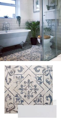 Ceri created an interesting nature-themed scheme in her bathroom. She used a backdrop of White Rhian Tiles, with our patterned Antique Vintage Blue Tiles forming a striking statement floor. Vintage Bathroom Floor, White Bathroom Tiles, Victorian Bathroom, Bathroom Floor Tiles, Vintage Tile Floor, Dyi Bathroom, Colourful Bathroom Tiles, Best Bathroom Flooring, Blue Bathrooms