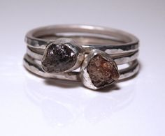 Custom sterling silver and conflict free Canadian rough raw natural uncut diamond stacking set