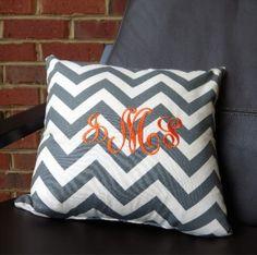 Monogrammed Pillow ~ Grey Chevron #monogram