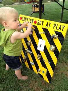 Boy at play board. 1 year old birthday gift. Genius Idea!