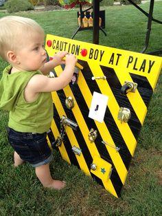 Boy at play board. 1 year old birthday gift. Genius Idea!