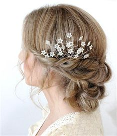 Flower and crystal bridal hair pin bridesmaid's flower