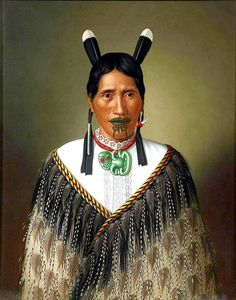 """""""Portrait of Maori Woman Called Mrs. Paramena"""" by Gottfried Landauer - She's from New Zealand, but looks like a number of First Nations people I've seen from other century portraits. Maori Designs, Ta Moko Tattoo, Maori Tattoos, Polynesian People, Polynesian Art, Maori People, Long White Cloud, New Zealand Art, Nz Art"""
