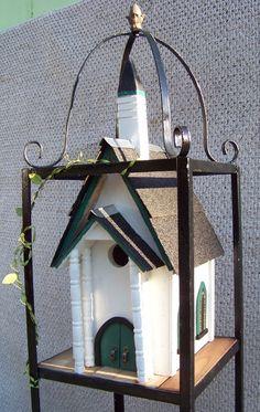 Bird House - Church Bird House and plant stand 5' Tall All resourced materials http://www.backwaterstudio.com/church-bird-house.html#