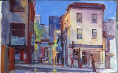 Chinatown, Montreal, Quebec. Gouache by James Gurney, 5 x 8 inches.