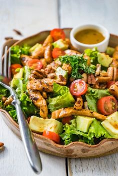 Orange Chicken Salad - Orange Chicken Salad with Avocado, Pecan Nuts and warm Orange Butter Dressing.