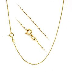 """18K Yellow Gold Over Sterling Silver 1Mm Thin Box Chain Necklace - 20"""" - 50Cm"""