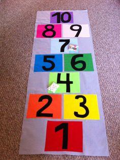 Felt Roll-Up Hopscotch Mat with Bean Bags via Etsy