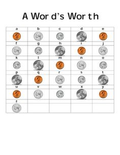 Math/Spelling or Vocab together.  Pick a spelling word/vocab word.  Using sheet, determine how much it is worth (adding up the money amounts represented by each letter according to the chart.)  Cool!