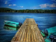 Lake Boat Dock Oil Painting by ReburnDesigns on Etsy