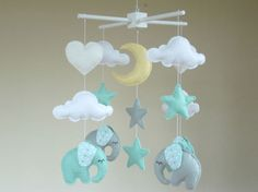 Elephant Baby Mobile Cot mobile Elephant Nursery by ClooneyCrafts