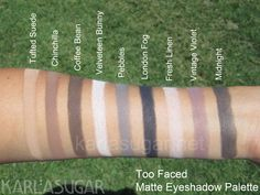 Too Faced Matte Eye palette. One of the best matte shadow textures I've seen, it reminds me of the MAC matte 2 texture.