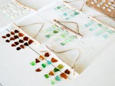 Sea glass mini mobiles are the perfect memento for summer shore vacations.