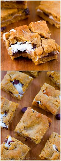 Soft chewy S'more Cookie Bars - completely addicting, too!