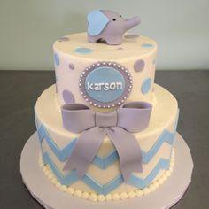 Chevron boy baby shower cake with fondant elephant topper