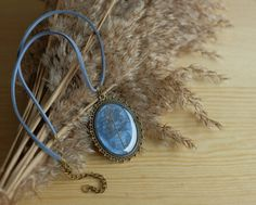 Dried flowers dark blue necklace jewelry real herbarium jewelry seeds autumn pendant botanical jewelry floral necklace vintage blue necklace by sincereworkshop on Etsy