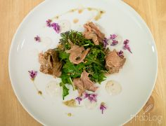 Roast beef with red pepper, lilac and wild herbs