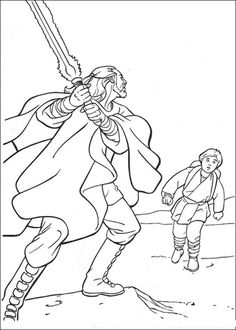 Qui-Gon Jinn and young Anakin Skywalker coloring page from The Phantom Menace category. Select from 25665 printable crafts of cartoons, nature, animals, Bible and many more.