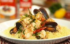 Poached Seafood with CousCous & Gremolata