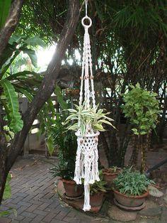 Amazing white macrame plant hanger Inca by handiworkclub on Etsy