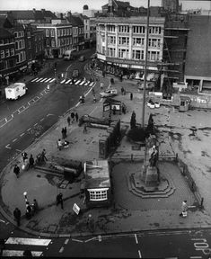 Derby Market Place pictured from the Guildhall in 1976 showing the war memorial, public toilets and telephone boxes Local History, Family History, Irish Cottage, Derbyshire, England, Peak District, Cottage Interiors, Toilets, Telephone