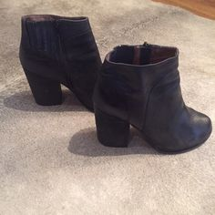 Jeffrey Campbell Black Leather Bootie Lightly worn but still in great condition! All black and chunky gives these booties a retro vibe Jeffrey Campbell Shoes Ankle Boots & Booties