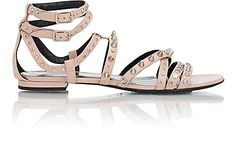 Studded nu pieds sandals-colorless by Saint Laurent. Saint Laurent Pale Blush (pale pink) leather Nu Pieds strappy sandals embellished with silvertone. Studded Sandals, Strappy Sandals, Shoes Sandals, Heels, Pretty Sandals, Open Toe Flats, Ankle Strap Flats, Embellished Sandals, Leather Flats
