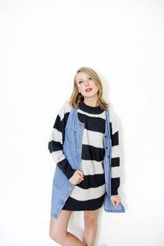 Vintage sweater / over size gray stripe jumper / size by nemres