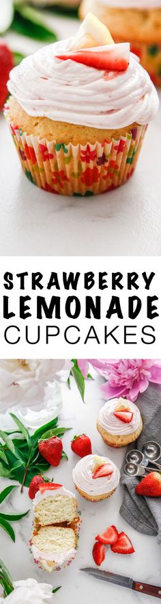 Get ready for summer with this delicious sweet recipe for Strawberry Lemonade Cupcakes. This easy summer treat can't be beat! via (Halloween Bake Simple) Easy Cake Recipes, Best Dessert Recipes, Cupcake Recipes, Baking Recipes, Sweet Recipes, Cupcake Cakes, Owl Cupcakes, Mocha Cupcakes, Easter Cupcakes