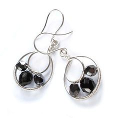 Black Wire Hoop Earrings - Wire Wrapped Jewellery  £13.00