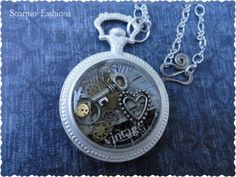 Steampunk Key and Heart Necklace with Unique by ScorpioFashions