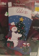 Bucilla Christmas Stocking Kit Snowman Trimming the Tree Jeweled Felt # 84759 Christmas Stocking Kits, Felt Christmas Stockings, Snowman, Places, Ebay, Art, Art Background, Kunst, Snowmen
