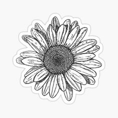 Black And White stickers featuring millions of original designs created by independent artists. White or transparent. 4 sizes available. Flower Drawing Tumblr, Daisy Drawing, Drawing Flowers, Side Tattoos, Small Tattoos, Tatoos, Skull Shop, Tattoo Studio, Sunflower Tattoo Small