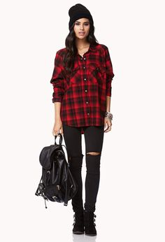 Buffalo flannel shirt, black jeans, black boots