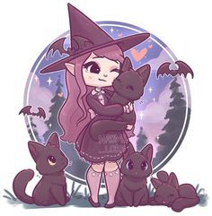 Getting into the spooky spirit with a slightly more halloweeny witch! (With a lot of cats!) are there any other halloweenish themed witches youd like to see? Can a vampire be a witch? Should I just draw a cute vampire? Anime Chibi, Pet Anime, Anime Art, Chibi Cat, Chat Kawaii, Kawaii Art, Kawaii Anime, Witch Drawing, Guy Drawing