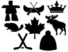 Canadian Symbols Stencils for Pennant Bunting - Top-Trends Canada Day Party, Canada Day 150, Canadian Symbols, Canadian History, Canadian Art, Canadian Flags, Canadian Tattoo, Canadian Culture, Paper Piecing